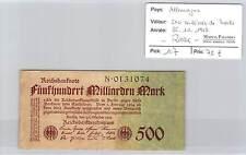 BILLET ALLEMAGNE - 500 MILLIARDS DE MARKS - 26-10-1923* RARE!!!!