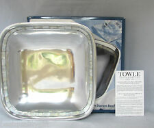 """NEW TOWLE SILVERSMITHS ALLUMINUM SQUARE BOWL w/ MOTHER OF PEARL-9.5""""LX2.5""""H +BOX"""