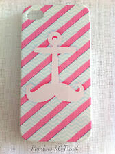 Pink and Blue Stripes Moustache Anchor Printed iPhone 4/4S Case for Apple