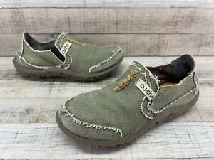 Cushe Sand/Green Canvas Slippers Shoes Youth Boys sz 3