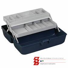 Cassetta valigetta da pesca per porta attrezzi minuterie ami piombi 2 ripiani