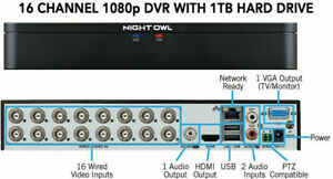 DVR Night Owl DVR, 16 Channel  (1080P) Video Security System with 1-tb HDD.