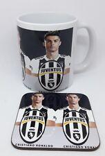 Cristiano ronaldo juventus  ceramic coffee mug set with coasters