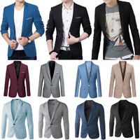 Mens Slim Fit Stylish Formal Casual One Button Suit Blazers Coat Jacket Business