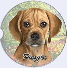Puggle Dog Car Coaster Absorbent Keep Cup Holder Dry Stoneware New Brown