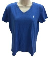 Ralph Lauren Sport Short Sleeve V-Neck Tee Shirt 100% Cotton Blue Size Medium
