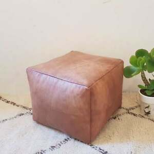 Square Moroccan Genuine Leather Boho Pouf Ottoman Footstool Pouffe 100% Handmade
