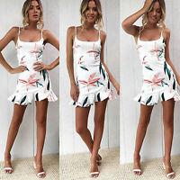 Damen Boho Ärmellos Blumen Minikleid Urlaub Sommer Strandkleid Party Damenkleid