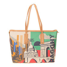 RRP €190 BAGGHY Tote Bag Large Paris Print Leather Details Zipped Made in Italy