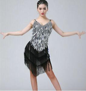 Women Tassel Fringe Dance Dress Latin Sequins Skirt Ballroom Costume Tango Rumba