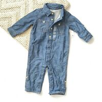 babyGap 1969 Boys Chambray One Piece Denim Lined Outfit Convertible 12-18 Months