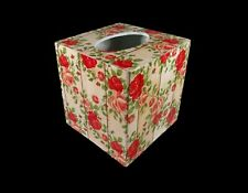 Handmade Decoupage Wood Tissue Box Cover Decorative Paper Roses