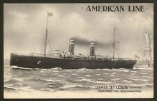"American Line. U.S.M.S.S. ""St.Louis"" Leaving New York - Vintage Printed Postcard"