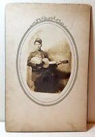 Post Civil War U.S. Army soldier plays acoustic guitar, cabinet photo, uniform