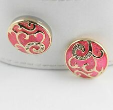 Noosa Chunks Ginger Style Snap Button Charms Sparkling Pink/Gold Swirls 20mm