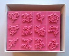 12 pcs Flower Rose Rubber Stamp Scrapbook Stamps Ink Pad Stamping Embossing
