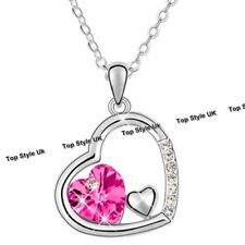 Tripple Heart Necklace Rose Quartz Christmas Birthday Gifts for Her Women Mum F6