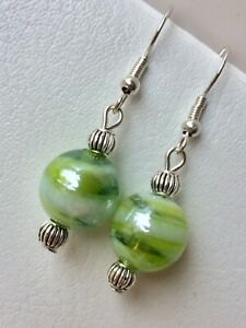 Lime Green & White Glass Earrings With Silver Plated Hooks.