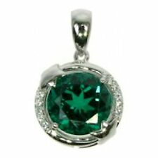Emerald and Cubic Zirconia Round Silver Pendant with Curb Chain ZDSP1927