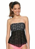 So Size XS S M Black White Crochet Strapless Bandeau Tankini Halter Swim Top