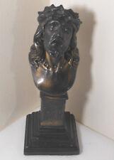 Vtg Jesus Christ Chalkware Statue Head Bust St Christo De Limpias-Religious