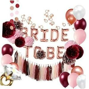 Burgundy and Rose Gold Bachelorette Party Decorations Bridal Shower Kit -