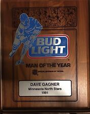 1991 North Stars DAVE GAGNER Bud Light MAN OF THE YEAR PLAQUE COA ONE OF A KIND