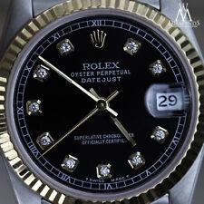 Men's Rolex 36mm Datejust 2 Tone Black Color Dial with Diamond Accent