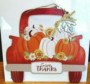 Give Thanks Wall Hanging Pumpkins in a Truck Thanksgiving