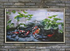 original oil painting,koi fish water lily painting,framed