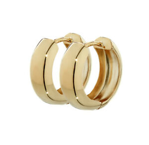 Pair of  18K 750 Yellow gold Huggie earrings 12.2 x 3.2mm High Polished Round