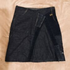 G-STAR RAW DENIM SKIRT SIZE S approx 10 UK patchwork panel distress A-line knee