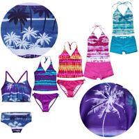 Girls Tankini Swimsuit Kids Tropical 2pcs Bikini Swimwear Bath Swimming Costumes
