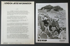 Zz Top The Best Of 1977 Us Promo Press Kit Fran Beard Billy Gibbons Dusty Hill