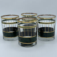 Vintage Emerald Green & Gold Marbled Lowball Whiskey Barware set of 4
