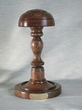 SHORT HAT WIG STAND WOODEN DARK OAK WOOD ENGRAVED  HANDMADE BARRISTERS JUDGE ETC