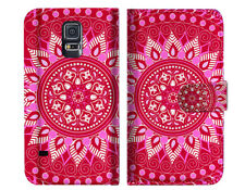 Hot Pink AZTEC TRIBAL Wallet Case Cover For Samsung Galaxy S5 - A004