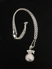 "Sterling Silver Crystal Pave $ Money Bag Pendant with 20"" Sterling Chain"