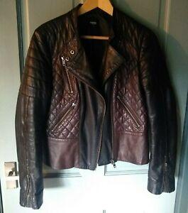 Oasis leather biker jacket black & oxblood red size M