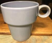 Set of 4 Vintage Light Blue Stackable Drip Glaze Coffee Mugs Tea Cups