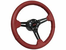 1969 - 1985 Chevy Nova 6 Bolt Red Leather Steering Wheel Red Bow Tie Kit