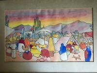 Vintage Mexican watercolor by Jorge A Murillo