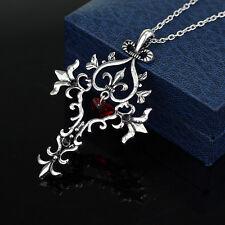 Retro Vampire Diaries Red Sacred Heart Memorial Cross Pendant Necklace RQ83