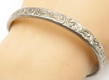 925 Silver - Vintage Baroque Swirl Etched Design Bangle Bracelet - B4939