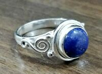 925 Sterling Silver Round Shape Lapis Lazuli Handmade Ring All Size KGJ-R-1017