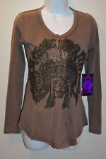 Womens Rock & Roll Cowgirl Burnout T-Shirt Brown Fading Indian Chief MEDIUM