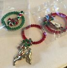 Vintage Wine Markers Christmas HOLIDAY 3 Pc Reindeer Candy-cane Holley candle*