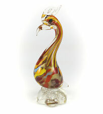 Murano Italian Art Glass Hand Blown Heron / Bird in Red, Yellow, & Gold