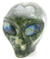 Alluring PICASSO JASPER Art Sculpture ALIEN HEAD with LABRADORITE GEMSTONE Eyes