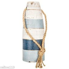 Blue and White Buoys Rustic Vintage Style Set of 2 Wooden Nautical Decor L/S